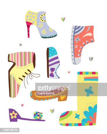 various kinds of shoes : Illustration