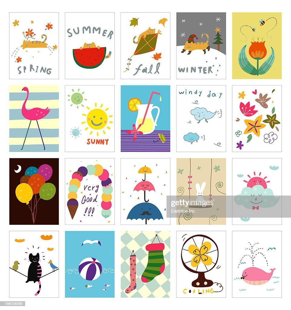 Various seasonal postcard : Stock Illustration
