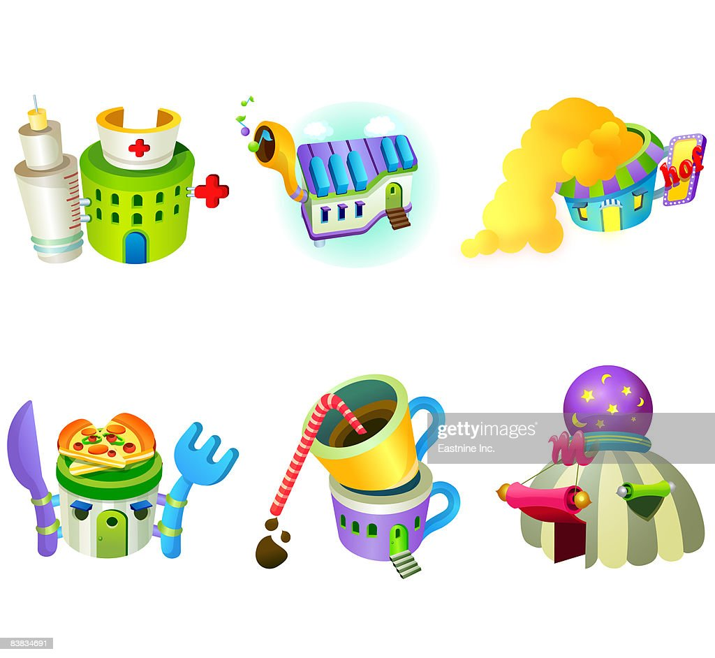 Various structures displayed against white background : Stock Illustration