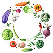 Hand drawn watercolor illustration. Set of organic products. Round frame of various vegetables isolated on white.