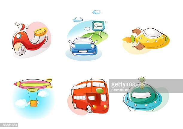 Various vehicles against white background