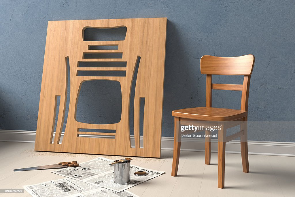 Varnished chair cut out of a wooden board : Stock Illustration