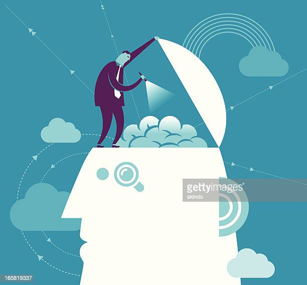 Vector brain searching concept with man and head