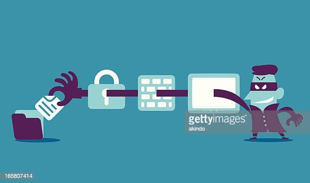 Vector graphic of cartoon computer hacker