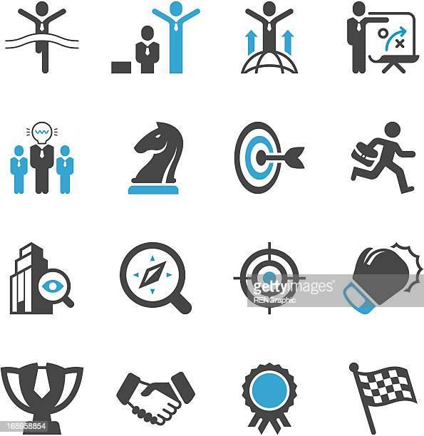 Vector set di icone con una strategia aziendale a tema
