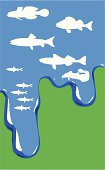 vector illustration of fish in water on green background