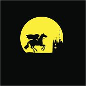 vector silhouette of the rider without head on yellow background