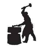 vector silhouette of the smith on white background