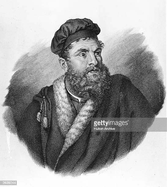 Venetian traveller Marco Polo born into a noble family circa 1295 Original Artwork Engraving by Gaetano Bonutti after a painting by the Venetian...
