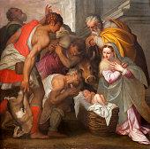 Verona - Nativity scene by Bernardinus Indisur from year 1567 in San Bernardino church on January 2,. 2013 in Verona, Italy.