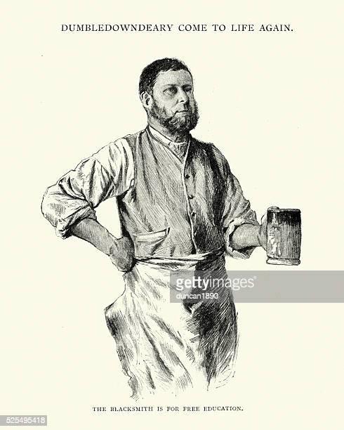 Victoriana herrero bebiendo cerveza desde un Tankard
