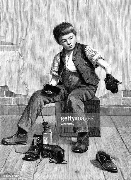Victorian boy shining shoes