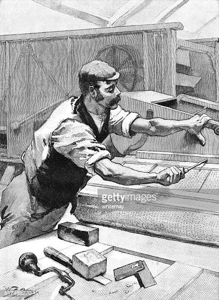 Victorian carpenter or mechanic making or repairing a threshing machine