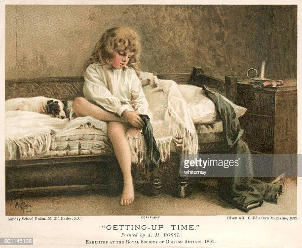 Victorian child getting out of bed in the morning