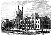 victorian engraving of Queen's College, Belfast.  Digitally restored from a late 19th Century encyclopedia.