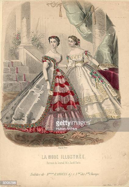 A victorian fashion plate from 'La Mode Illustree' showing two ladies in extravagant hooped ballgowns Published in Paris 1866 Vict 0102 79