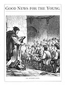 A 19th century illustration of a 16th century classroom, a master teaching his pupils, entitled 'The Reformers School' depicting the time of Reformation when Britain became mainly Protestant.