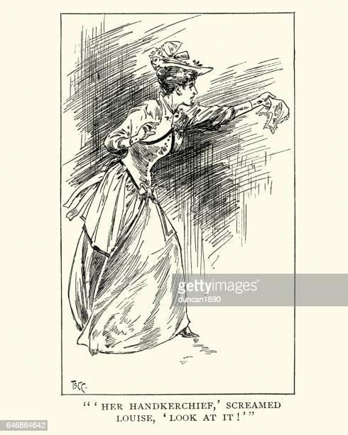 Victorian lady waving her handkerchief