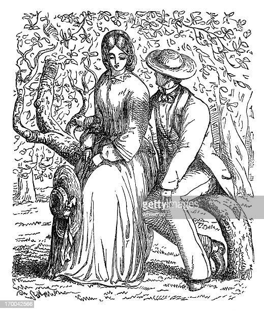Victorian lovers in an orchard