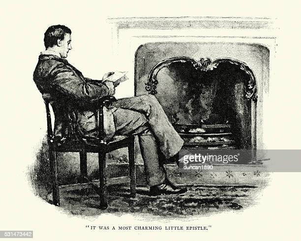 Victorian man reading by the fireside