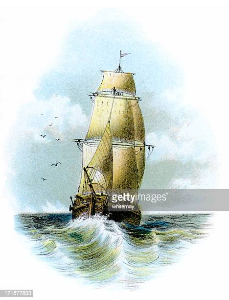 Victorian sailing ship at sea