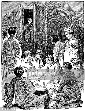 Victorian schoolboys discovered having a midnight feast in the dormitory