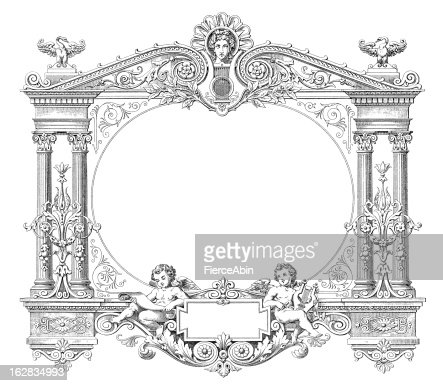 victorian style musical frame antique engraving xxxl