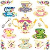 Victorian tea set isolated on white