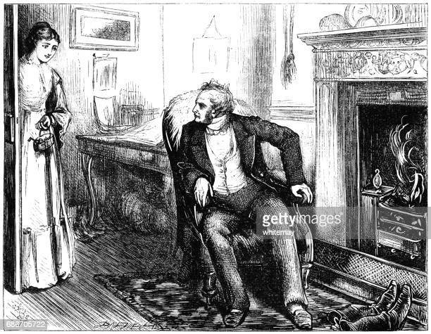 Victorian woman entering a room to speak to a man