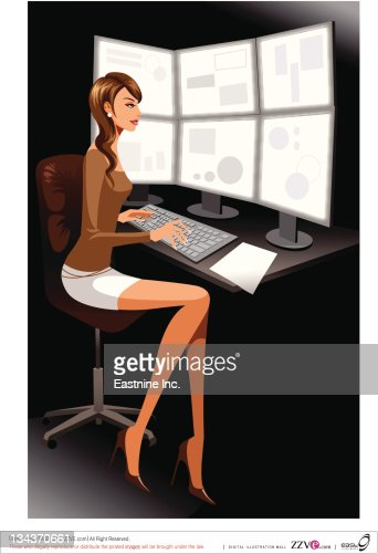 Video Editor Working Woman Vector Art Getty Images