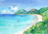 View of paradise bay with turquoise see water and white sandy beach. Watercolor hand drawn illustration.