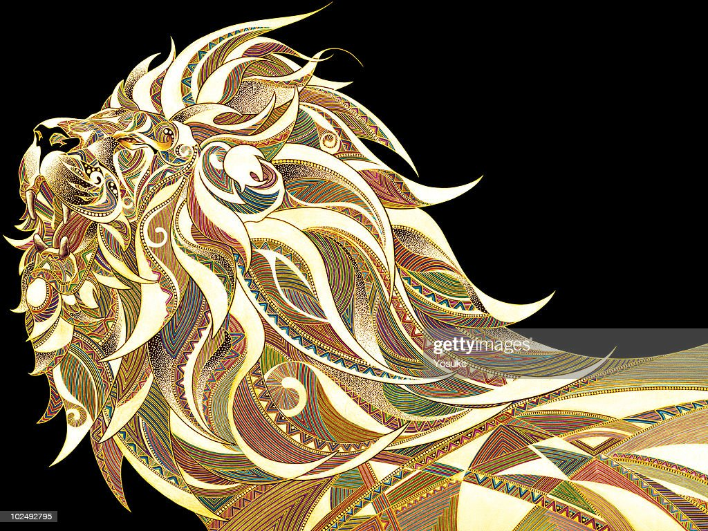 View of patterned lion against black background : Stock Illustration