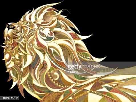 View of patterned lion against black background : Stock Illustration