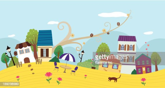 view of town : Stock Illustration