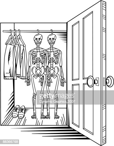 Open Closet Door Drawing a view of two skeletons hanging in an open closet vector art