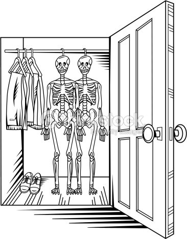 A View Of Two Skeletons Hanging In An Open Closet Vector Art