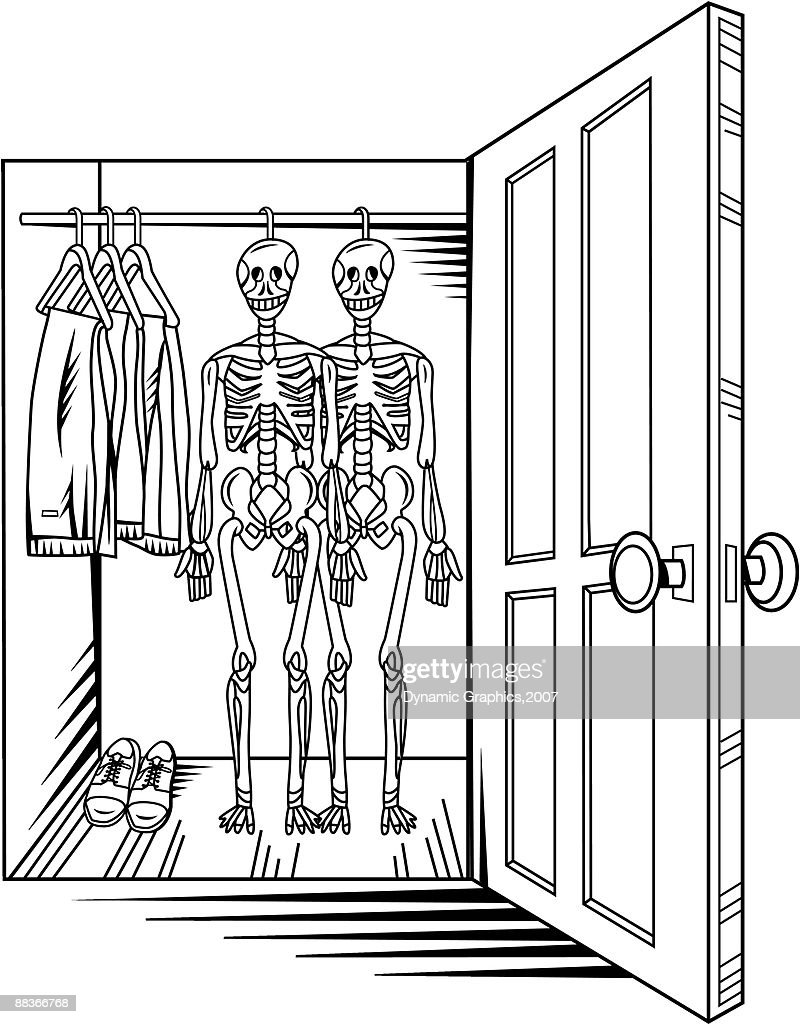 A View Of Two Skeletons Hanging In An Open Closet : Vector Art