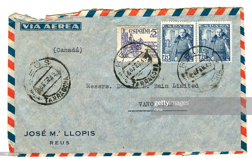 vintage airmail envelope with spanish stamps : Stock Illustration