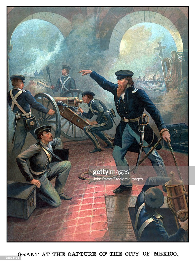 Vintage American History poster of Ulysses S. Grant commanding troops during the Mexican American War. It reads, Grant At The Capture Of The City Of Mexico. : Stock Illustration