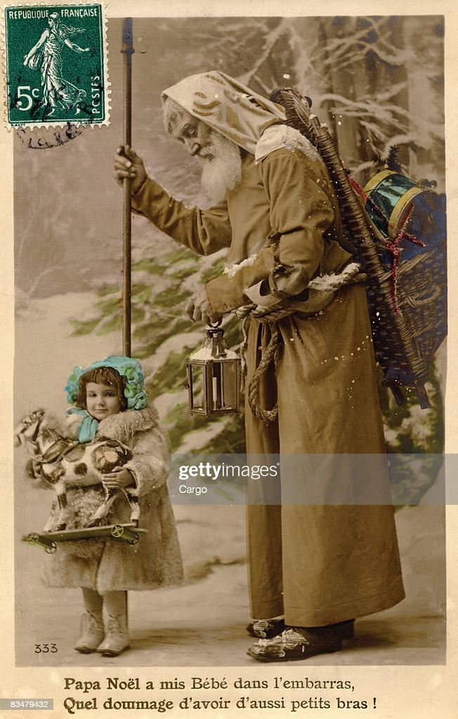 Vintage Christmas postcard of Santa Claus walking with a little girl holding a toy horse : Stock Illustration