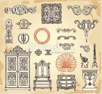 Muebles de poca arte vectorial thinkstock - Muebles de epoca ...