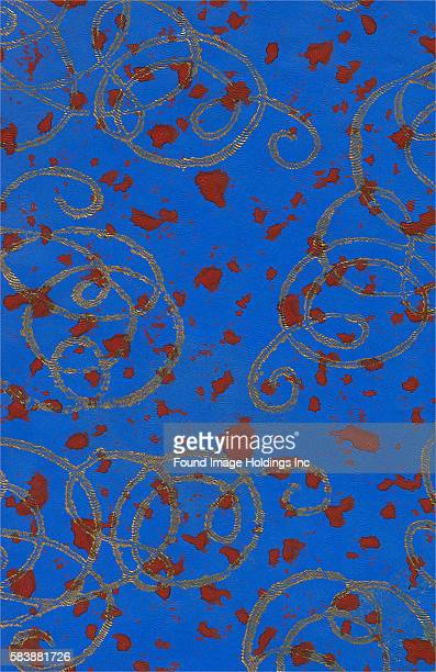 Red Spots on Blue with Gold Squiggles