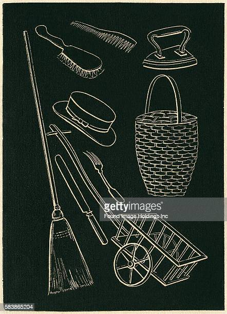 Assorted Domestic Goods in Black and White Basket Broom Brushes