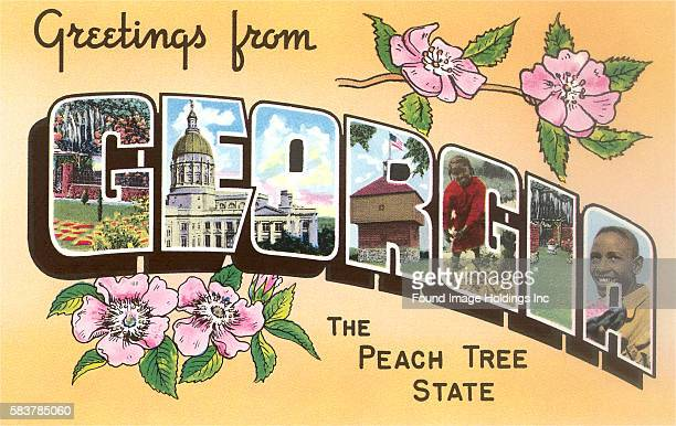 Greetings from Georgia the Peach Tree State large letter vintage postcard