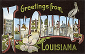 Greetings from New Orleans Louisiana large letter vintage postcard