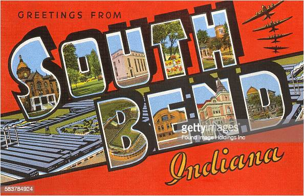 Greetings from South Bend Indiana large letter vintage postcard