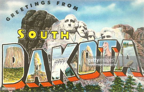 Greetings from South Dakota large letter vintage postcard