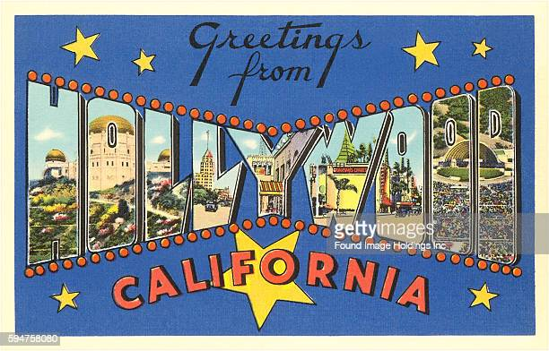 Greetings from Hollywood California large letter vintage postcard