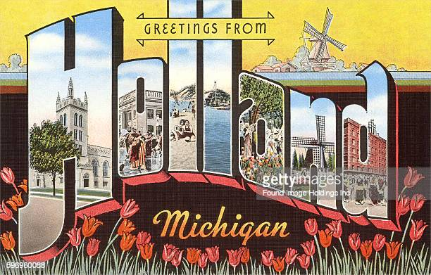 Greetings from Holland Michigan large letter vintage postcard