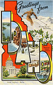 Greetings from Idaho large letter vintage postcard